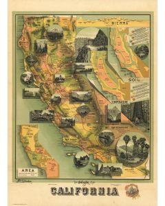 The Unique Map Of California, 1885