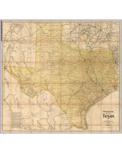 Railroad and County Map Of Texas, 1906