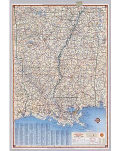 Shell Highway Map of Arkansas-Louisiana, Mississippi, 1956